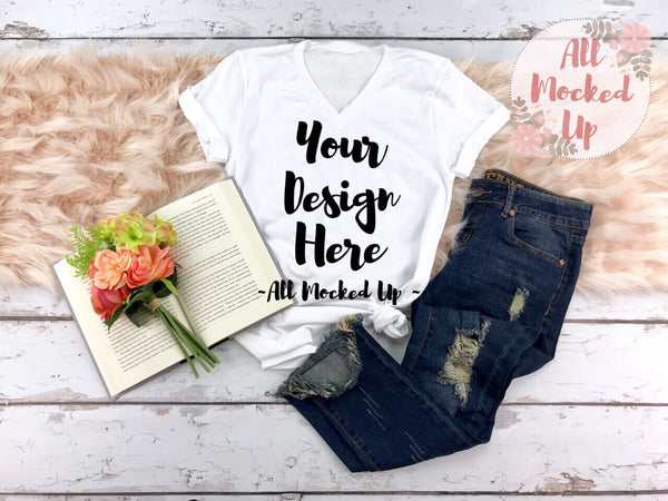 Bella Canvas 3005 White V-Neck T-shirt Tshirt Mock Up MockUp Image  - Flat Lay Image - Flatlay -  1/19