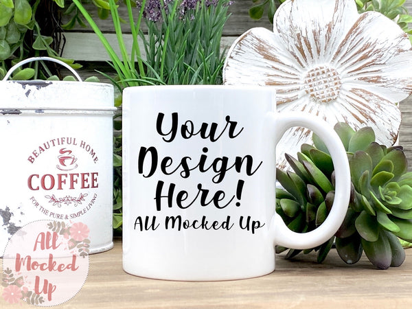 11 oz White Coffee Mug Mock Up - Sublimation Mock UP - Mock Up - Mock Up Image  - Flat Lay Image - Flatlay   3/21