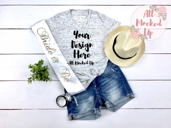 Bella Canvas 3005 White Marble T-shirt Tshirt Mock Up MockUp Image  - Flat Lay Image - Flatlay -  Bride Wedding Theme 3/19