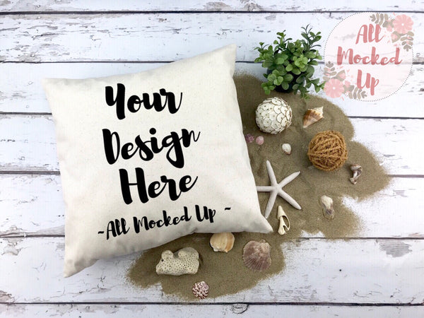 Canvas Pillow Mock Up - Beach Summer Theme - Decor Pillow Square Pillow Pillow Case MockUp Image - Flat Lay Flatlay - 2/19