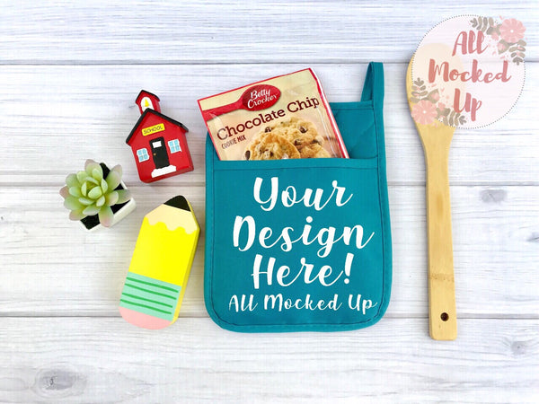 TURQUOISE Pocket Pot Holder Potholder Mock Up MockUp Image - Flat Lay Image - Flatlay - Styled Mock Up - 5/19