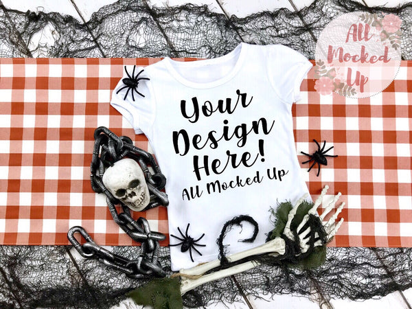 ARB Blanks Girls Short Sleeve Shirt Sublimation Mock Up MockUp Image  - Halloween Fall Mock UP -  Flat Lay Image - Flatlay - Styled Mock Up - 8/19