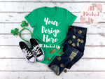 Bella Canvas 3001 HEATHER KELLY GREEN T-shirt Tshirt Mock Up MockUp Image  - Flat Lay Image - Flatlay  -   1/19