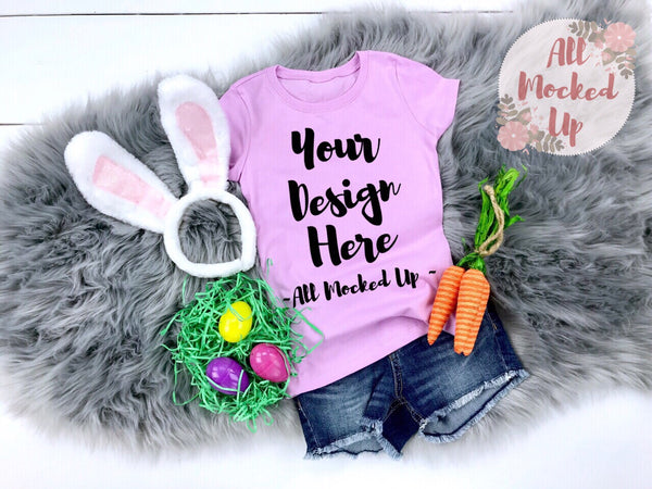 Next Level 3710 Youth LILAC T-shirt Tshirt Mock Up MockUp Image  - Flat Lay Image - Flatlay - Easter Theme - 3/19