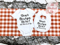 ARB Baby Bodysuit & Ruffle Bib T-shirt Mock Up MockUp Image - Shirt Mock Up - Boys Mock Up - Halloween Theme - Flat Lay Image - Flatlay - 8/19
