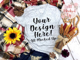 Bella Canvas 3005 White Marble V-Neck T-shirt Tshirt Mock Up MockUp Image - Sublimation Mock UP - Halloween Fall Theme - Flat Lay Image - Flatlay -  8/19