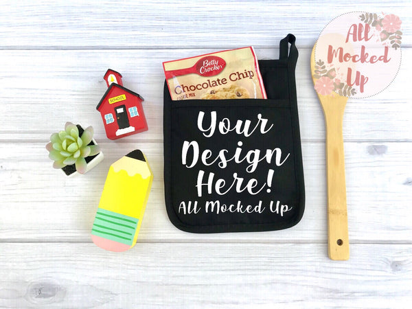 BLACK Pocket Pot Holder Potholder Mock Up MockUp Image - Flat Lay Image - Flatlay - Styled Mock Up - 5/19