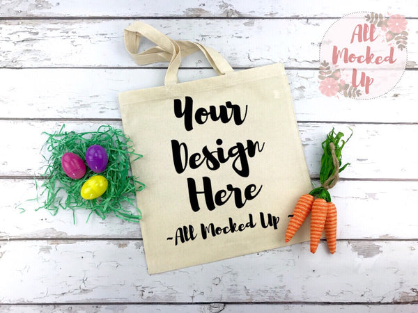 Liberty Bags 8502 Cotton Canvas Tote Bag Mock Up MockUp Image - Easter Theme -  Flat Lay Flatlay - 2/19