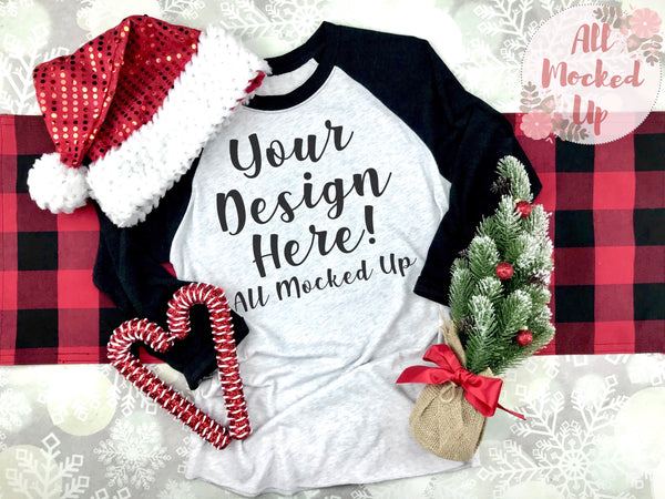 Next Level 6051 Adult Raglan Black Sleeve T-shirt Tshirt Mock Up MockUp Image  - CHRISTMAS HOLIDAY Theme -  Flat Lay Image - 10/19
