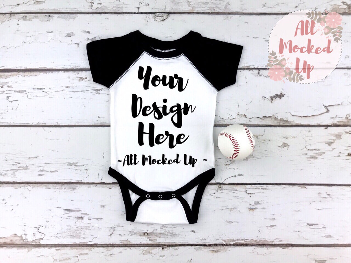 cad63655 Rabbit Skins 4430 White / Black Raglan Infant Bodysuit T-shirt Tshirt – All  Mocked Up