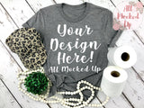 Bella Canvas 3413 Grey T-shirt Tshirt Mock Up MockUp Image  - Flat Lay Image - Flatlay - 4/20