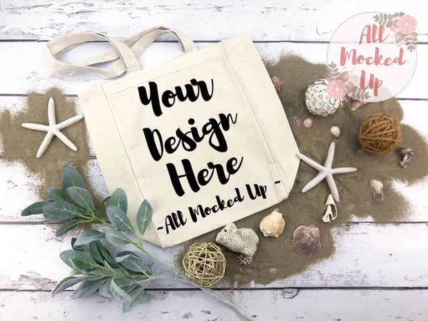 Liberty Bags 8861 Cotton Canvas Tote Bag Mock Up MockUp Image - Beach Summer Theme -  Flat Lay Flatlay - 2/19