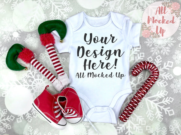 ARB Blanks baby Bodysuit Shirt Sublimation Mock Up MockUp Image  - CHRISTMAS / HOLIDAY Mock UP -  Flat Lay Image - Flatlay - Styled Mock Up - 10/19