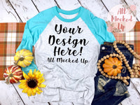 Next Level 6051 Adult Raglan Turquoise Blue Sleeve T-shirt Tshirt Mock Up MockUp Image - Fall Harvest Theme -  Flat Lay Image - 9/19