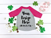 Rabbit Skins 3330 Grey / Pink Raglan St. Patrick's Day Theme - T-shirt Tshirt Mock Up MockUp Image  - Flat Lay Image - Flatlay - 2/19