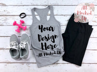 Next Level 1533 Women's Heather Grey Workout Racer Back Tank T-shirt Tshirt Mock Up MockUp Image  - Flat Lay Image - Flatlay -  1/19