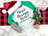 Next Level 6051 Adult Raglan Kelly Green Sleeve T-shirt Tshirt Mock Up MockUp Image  - CHRISTMAS HOLIDAY Theme -  Flat Lay Image - 10/19