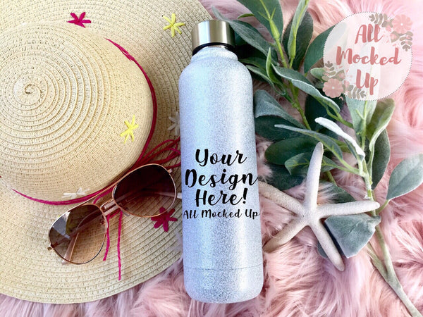 White Glitter Water bottle Mock Up MockUp Image  - Sublimation Mock UP - Flat Lay Image - Flatlay - Styled Mock Up - 5/19