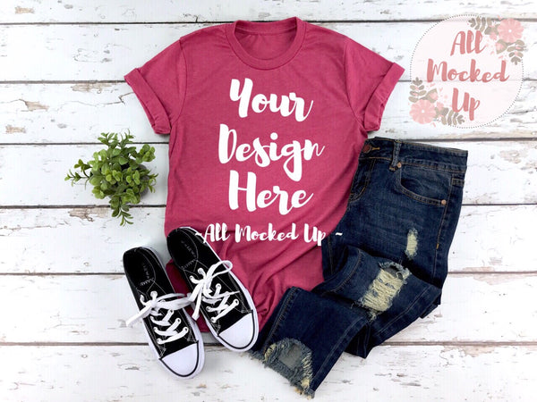 Bella Canvas 3001 HEATHER RASPBERRY  T-shirt Tshirt Mock Up MockUp Image  - Flat Lay Image - Flatlay -  1/19