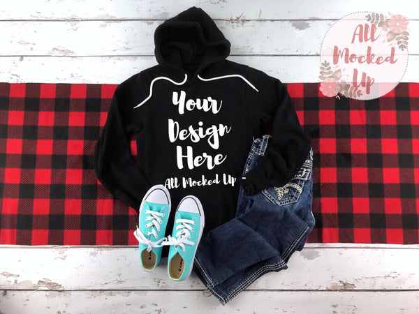 Bella Canvas 3719 Black Hooded Sweatshirt T-shirt Tshirt Mock Up MockUp Image  - Flat Lay Image - Flatlay -   1/19