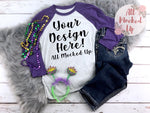 Next Level 6051 Purple Sleeve T-shirt Tshirt Mock Up MockUp Image  - Flat Lay Image - Flatlay -  Mardi Gras - 1/19