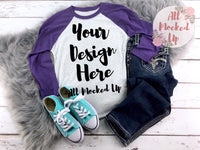 Next Level 6051 Heather White / Purple Rush Adult Raglan T-shirt Tshirt Mock Up MockUp Image  - Flat Lay Image - 1/19