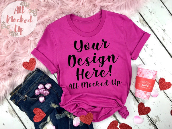 Bella Canvas 3001 / 3413 Berry T-shirt Tshirt Mock Up MockUp Image  - Valentine's Day Theme - Flat Lay Image - Flatlay -  1/20