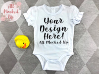 ARB Blanks Ruffle Sleeve Baby Bodysuit Shirt Sublimation Mock Up MockUp Image  - Everyday Mock UP -  Flat Lay Image - Flatlay - Styled Mock Up - 1/20