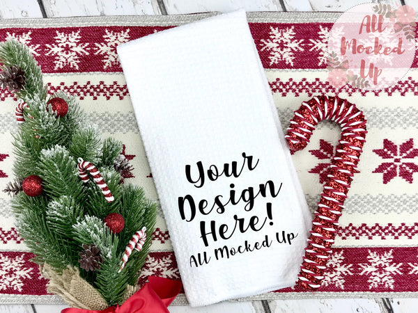 Waffle Weave Kitchen Towel Mock Up MockUp Image  - Sublimation Mock UP - Christmas Holiday Theme -  Flat Lay Image - Flatlay - Styled Mock Up - 11/19