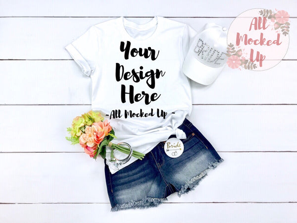Bella Canvas 3413 or 3001 White T-shirt Mock Up MockUp Image  - Flat Lay Image - Flatlay - Bride Wedding Bachelorette Theme 3/19