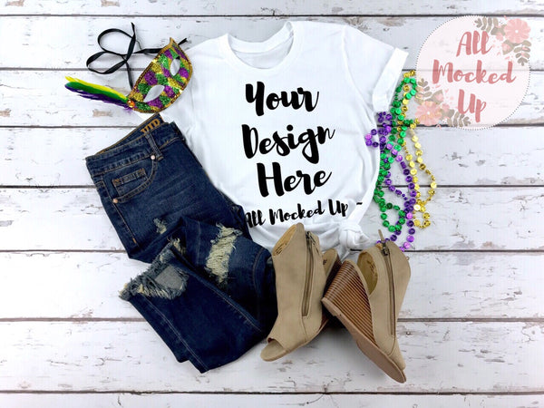 Bella Canvas 3001 3413 White T-shirt Tshirt Mock Up MockUp Image  - Flat Lay Image - Flatlay -  Mardi Gras - 1/19