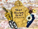Bella Canvas 3719 Heather Mustard Hooded Sweatshirt T-shirt Tshirt Mock Up MockUp Image  - Flat Lay Image - Flatlay Fall Mock Up -   9/20