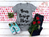 Next Level 1510 Women's Heather Grey T-shirt Tshirt Mock Up MockUp Image  - Flat Lay Image - Flatlay -  1/19