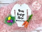 KAVIO I1C0589 Easter Themed Long Sleeve Sunflower Neckline Girls Infant White T-shirt Mock Up - Flat Lay - Flatlay 2/19