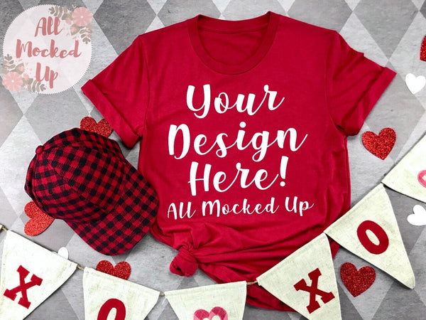 Bella Canvas 3001 / 3413 RED T-shirt Tshirt Mock Up MockUp Image  - Valentine's Day Theme - Flat Lay Image - Flatlay -  1/20
