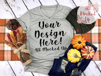 Bella Canvas 3005 Stone Marble V-Neck T-shirt Tshirt Mock Up MockUp Image  - Sublimation Mock Up - Fall Theme - Flat Lay Image - Flatlay -  9/19