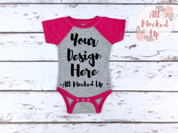 Rabbit Skins 4430 Grey / Pink Raglan Infant Bodysuit T-shirt Tshirt Mock Up MockUp Image  - Flat Lay Image - Flatlay - 1/19