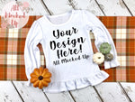 ARB Blanks Girls LONG Sleeve RUFFLE Shirt Sublimation Mock Up MockUp Image  - Fall Mock UP -  Flat Lay Image - Flatlay - Styled Mock Up - 9/19