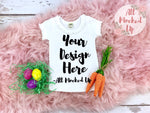 KAVIO P1C0558 or I1C0558 Easter Theme - Short Sleeve Sunflower Neckline Girls White T-shirt Mock Up - Easter Mock Up - Flat Lay - 2/19