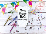 Carter's White Short Sleeve Bodysuit -Birthday Party Theme -  T-shirt Tshirt Mock Up MockUp Image  - Flat Lay Image - Flatlay -  1/19
