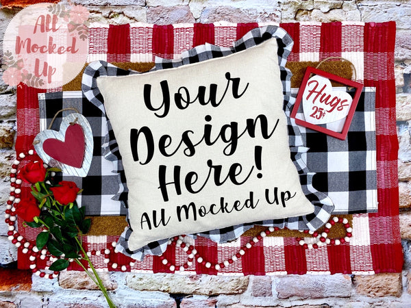 Black & White Plaid Sublimation Pillow Mock Up Decor Pillow Square Pillow Case MockUp Image - Flat Lay Flatlay - Valentine's Theme 1/21