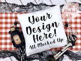 Pillow Mock Up - Halloween Theme - Decor Pillow Square Pillow Pillow Case MockUp Image - Flat Lay Flatlay - 8/19