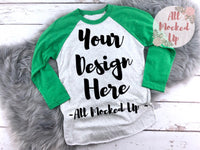 Next Level 6051 Heather White / Kelly Green Adult Raglan T-shirt Tshirt Mock Up MockUp Image  - Flat Lay Image - 1/19