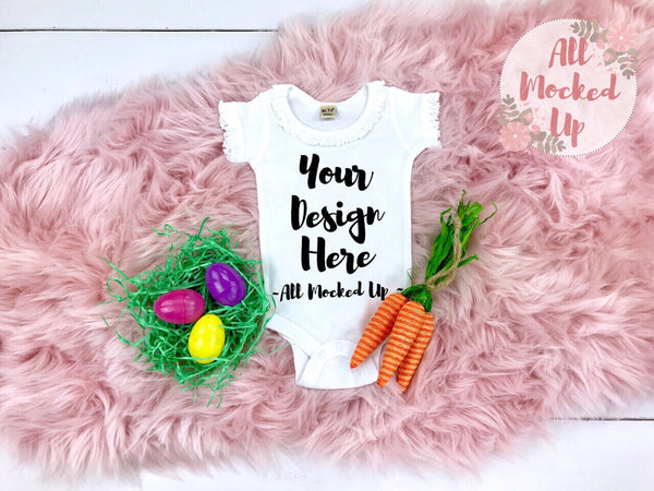 KAVIO I1C0559 Short Sleeve Sunflower Neckline Girls Infant White Bodysuit Easter Theme Mock Up T-shirt Tshirt Mock Up MockUp Image - 2/19