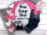 Next Level 6051 Heather White / Vintage Pink Adult Raglan T-shirt Tshirt Mock Up MockUp Image  - Flat Lay Image - 1/19