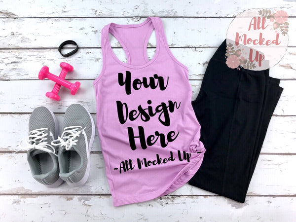 Next Level 1533 Women's Lilac Workout Racer Back Tank T-shirt Tshirt Mock Up MockUp Image  - Flat Lay Image - Flatlay -  1/19