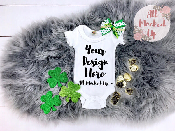 KAVIO I1C0559 Short Sleeve Sunflower Neckline Girls Infant White Bodysuit St. Patrick's Day Theme Mock Up T-shirt Tshirt Mock Up MockUp Image - 2/19