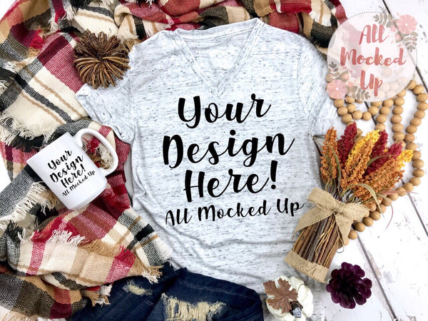 Bella Canvas 3005 White Marble V-Neck T-shirt Tshirt Mock Up and 15oz Mug MockUp Image - Sublimation Mock UP - Halloween Fall Theme - Flat Lay Image - Flatlay -  8/19