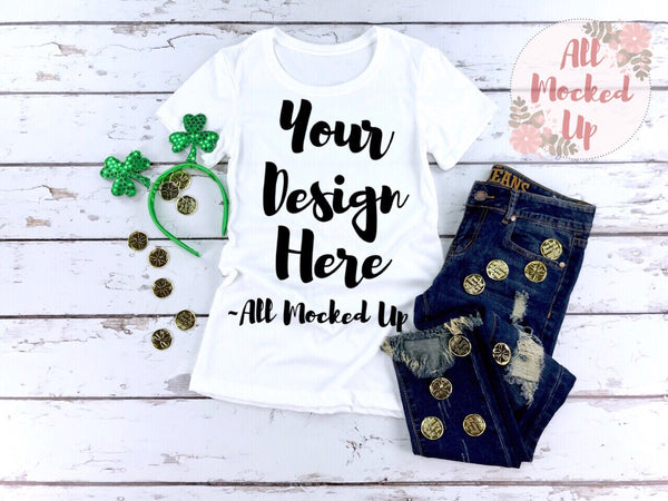 Next Level 1510 Women's White T-shirt Tshirt Mock Up MockUp Image  - Flat Lay Image - Flatlay -  1/19