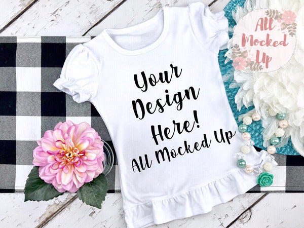 ARB Blanks Girls Ruffle Short Sleeve Shirt Sublimation Mock Up MockUp Image  - Flat Lay Image - Flatlay - Styled Mock Up - 7/19